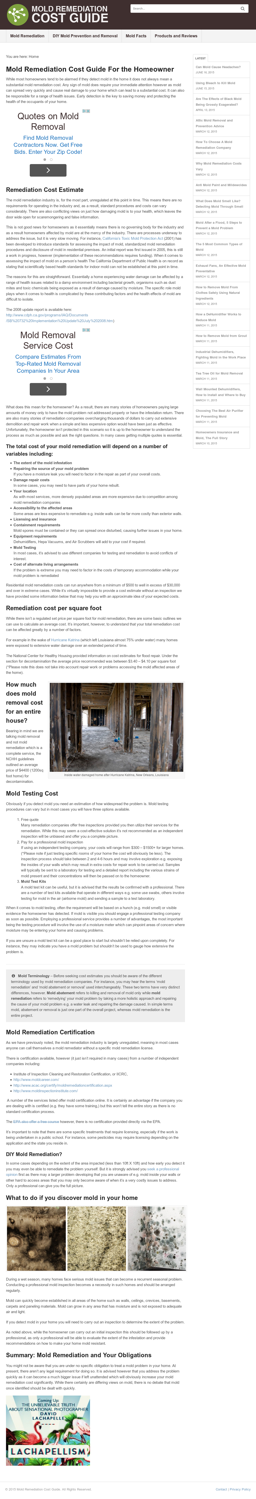 Mold Remediation Cost Guide Competitors, Revenue and Employees
