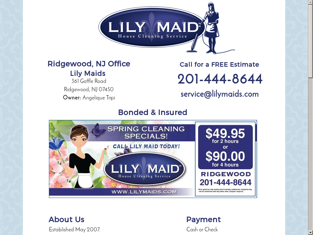 Lily Maid House Cleaning Service S Website Screenshot On Mar 2017