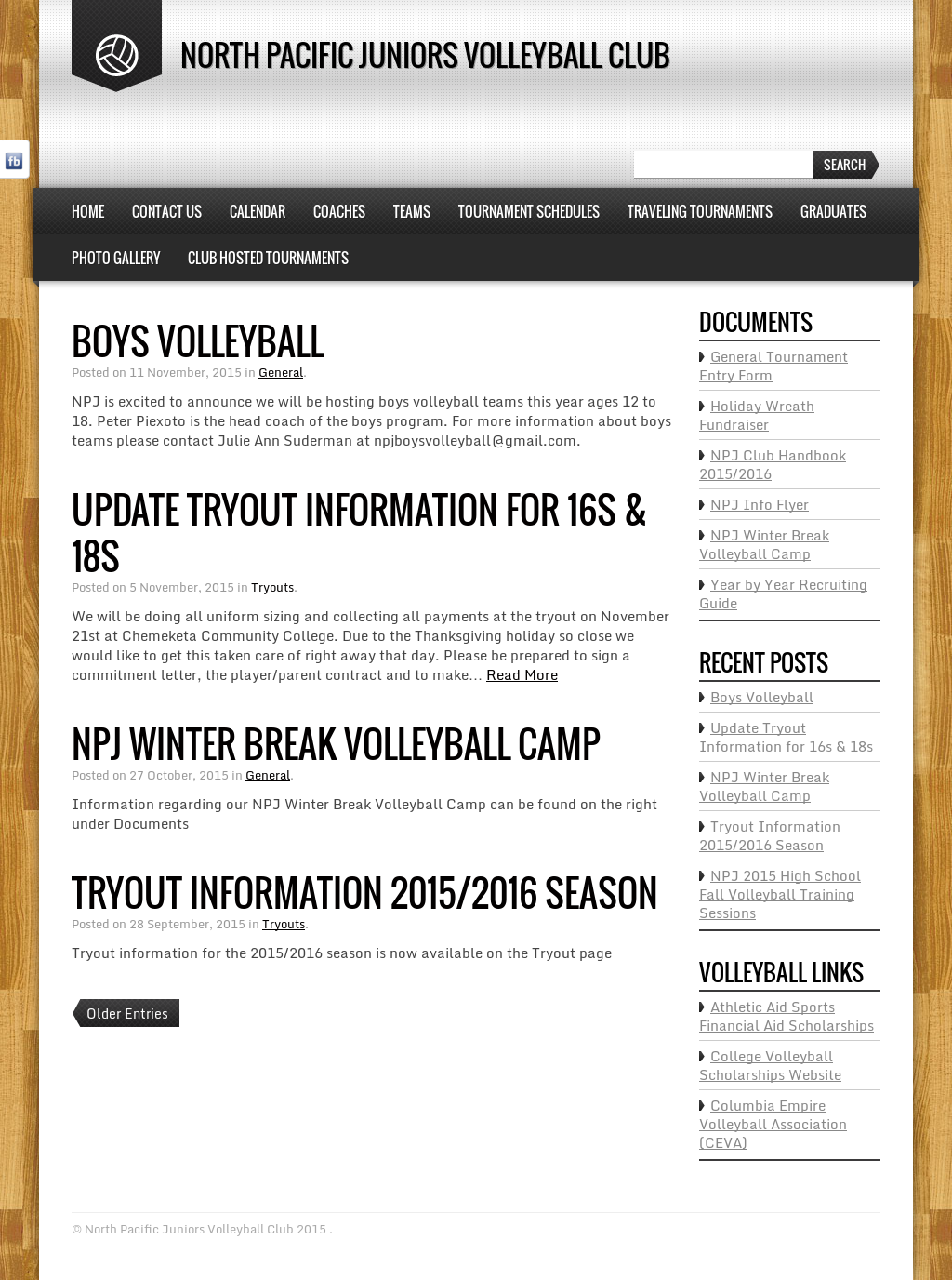 North Pacific Juniors Volleyball Club Competitors, Revenue and