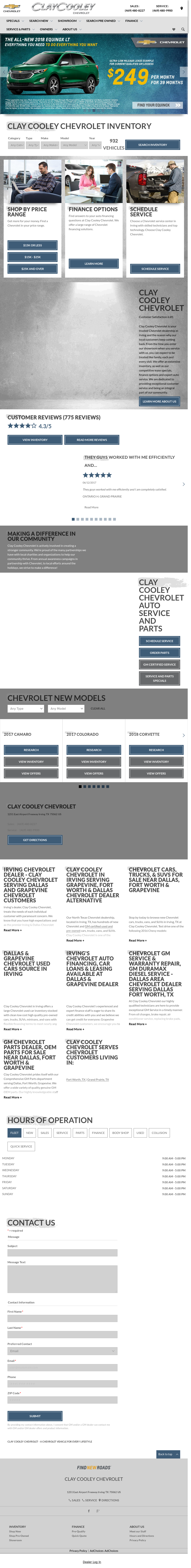 Clay Cooley Chevroletu0027s Website Screenshot On Jun 2017