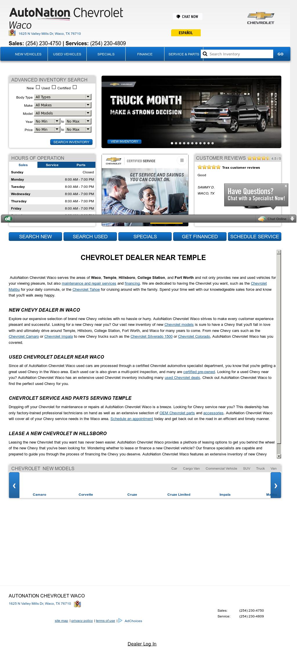 Allen Samuels Waco Chevrolet Website History