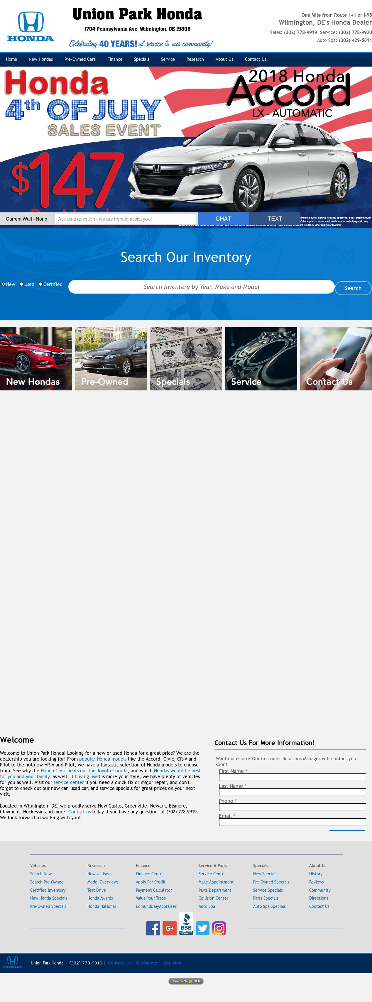 Union Park Honda Website History