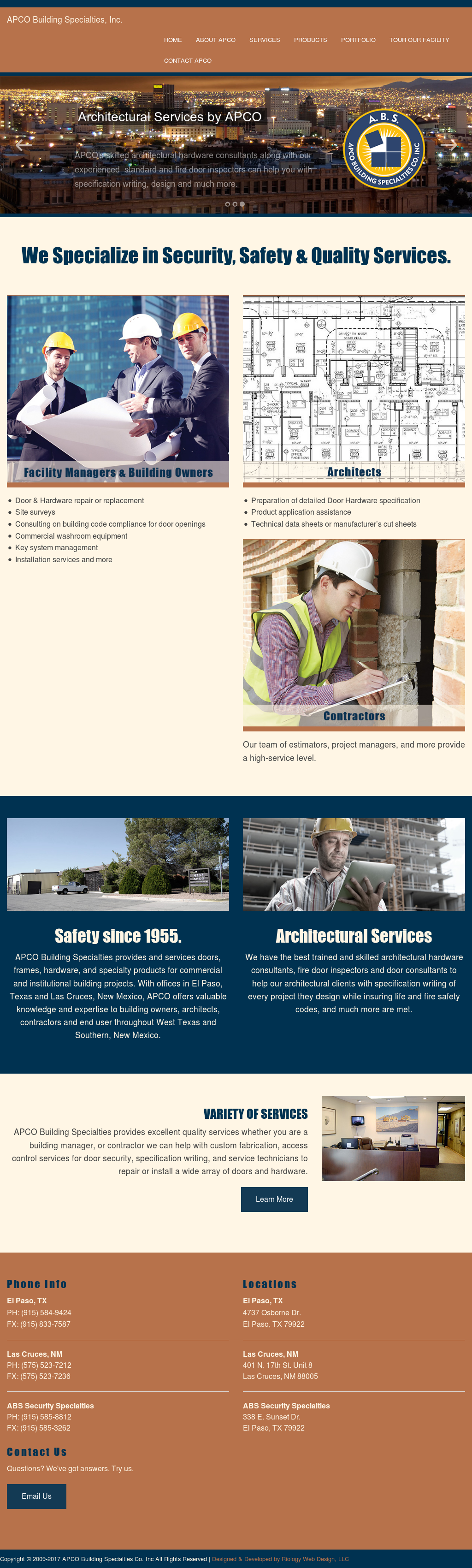 Apco Building Specialties Website History