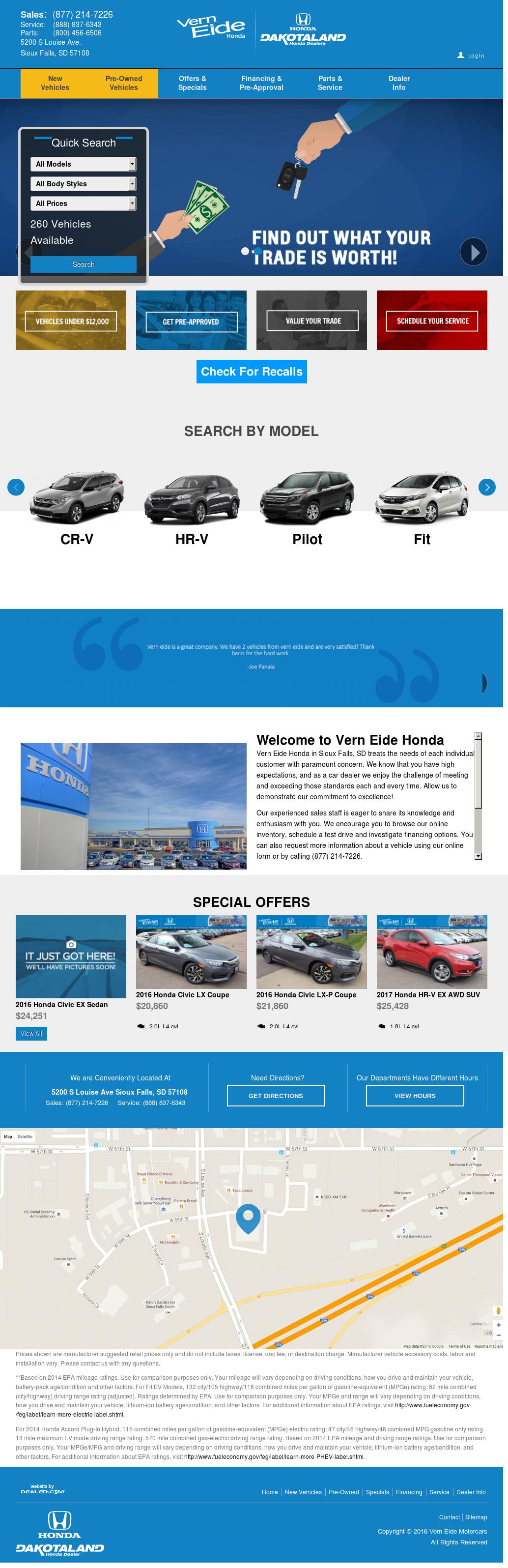Vern Eide Honda Website History