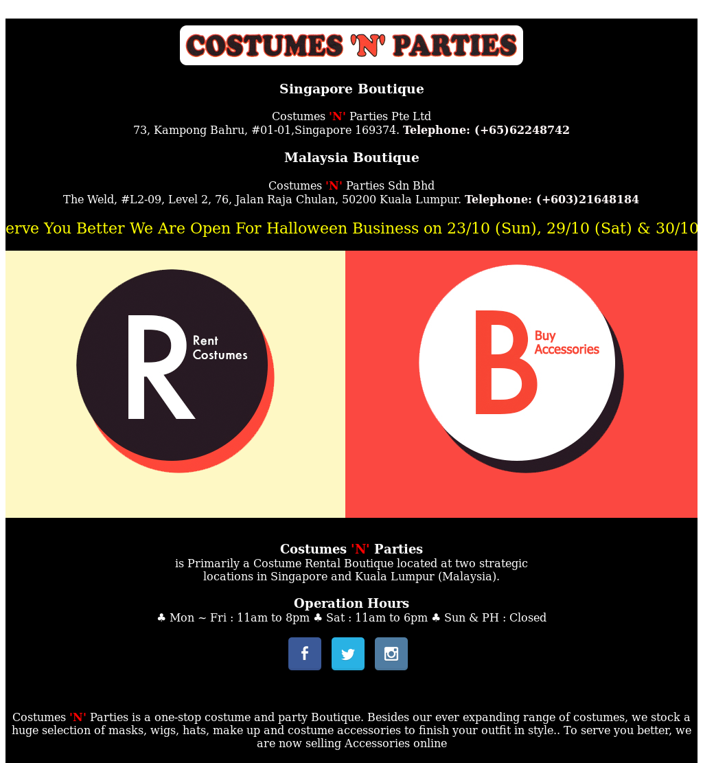 Costumes \u0027n\u0027 Parties Pte Ltd (Singapore) Competitors