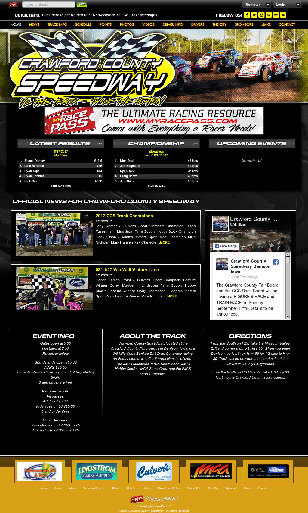 Crawford County Speedway Denison Iowa website history