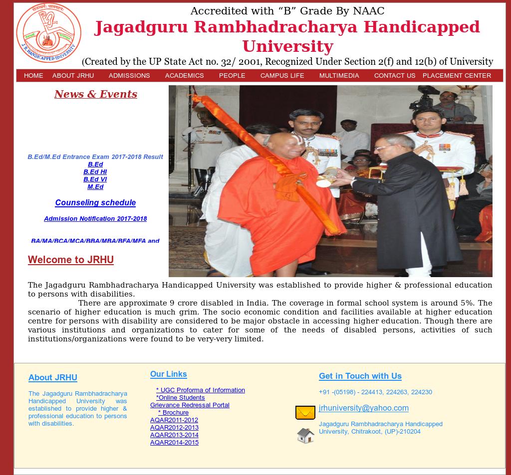 The Jagadguru Rambhadracharya Handicapped University Competitors