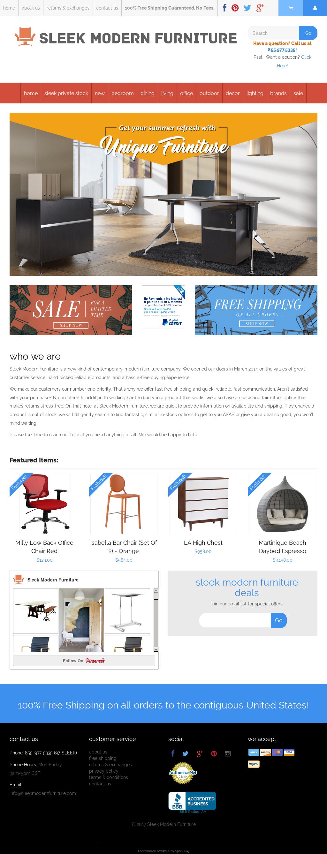 Sleek Modern Furnitureu0027s Website Screenshot On Jul 2017
