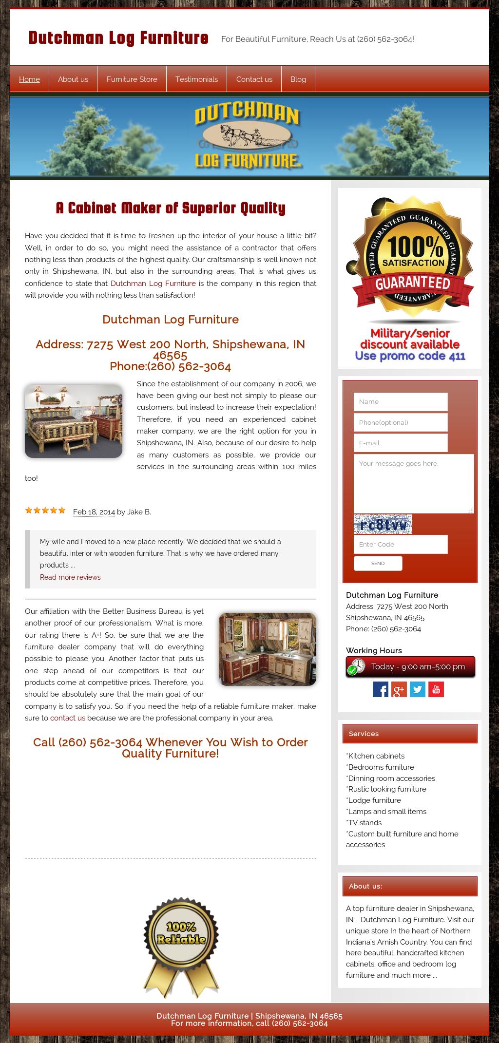 Dutchman Log Furniture Website History