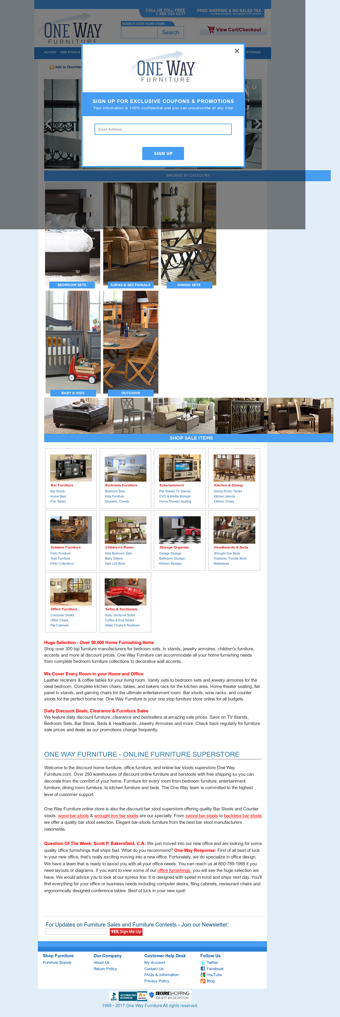 One Way Furniture Website History