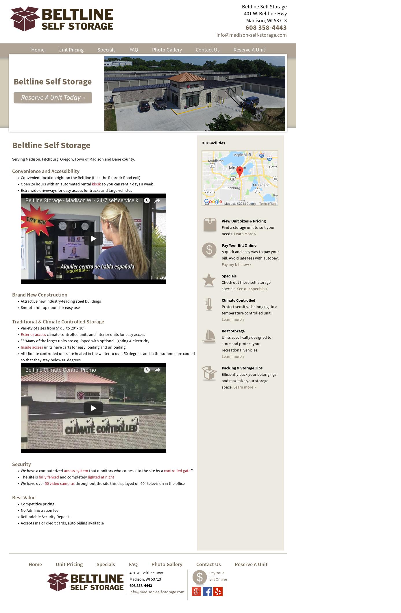Beltline Self Storage Website History