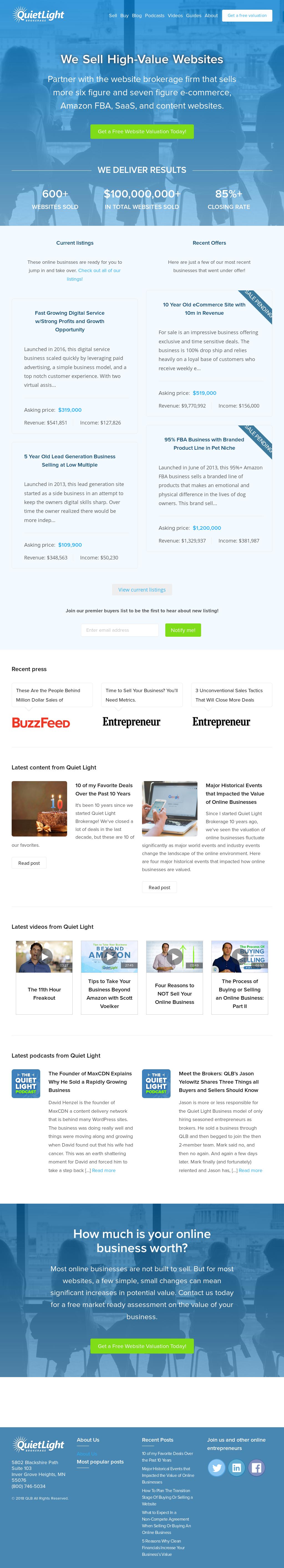 Quiet Light Brokerage Website History