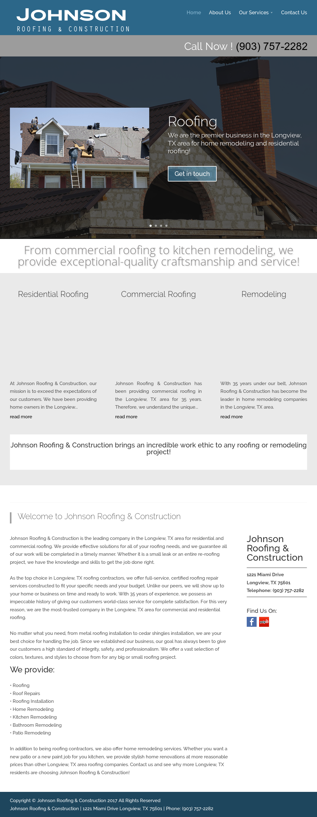 Johnson Roofing Construction Website History