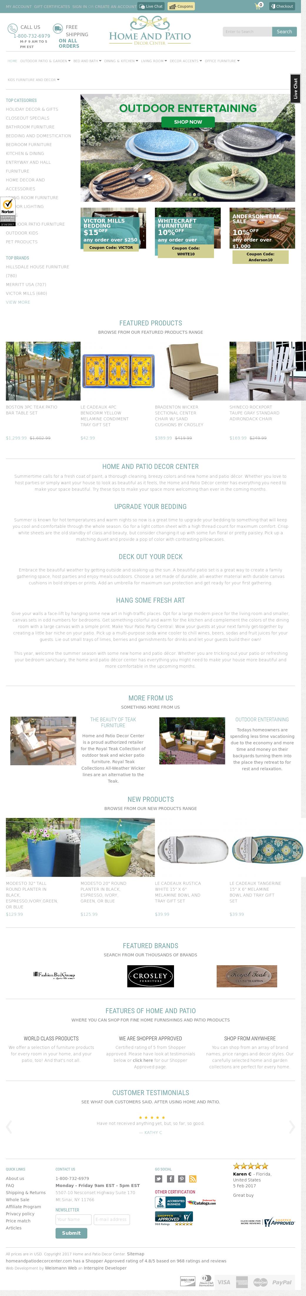 Home And Patio Decor Center Website History
