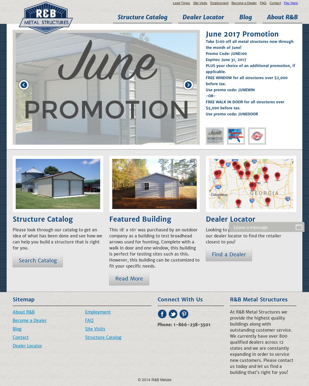 R And B Metal Structures S Website Screenshot On Jun 2017