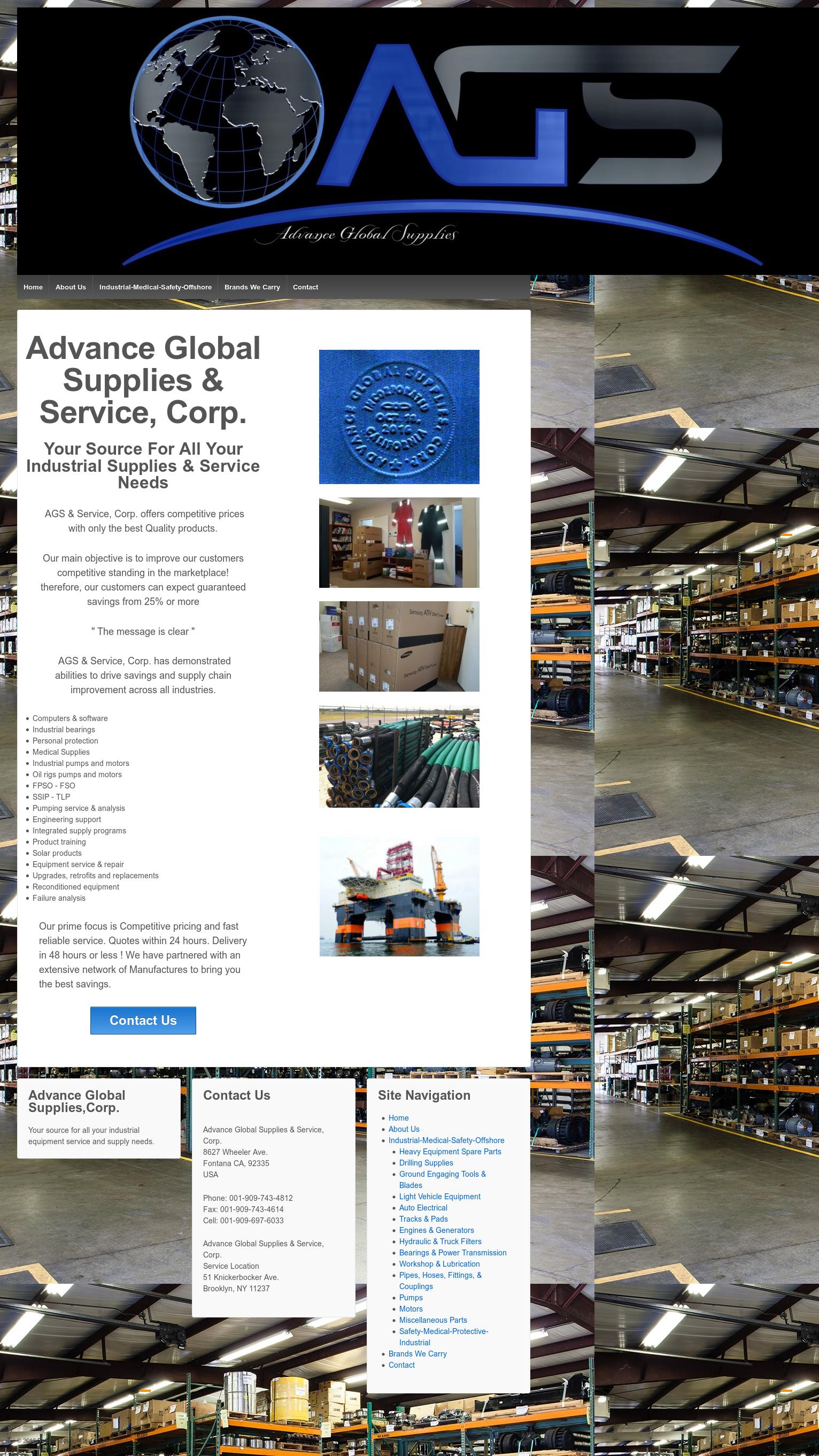 Advance Global Supplies's website screenshot on Jul 2018