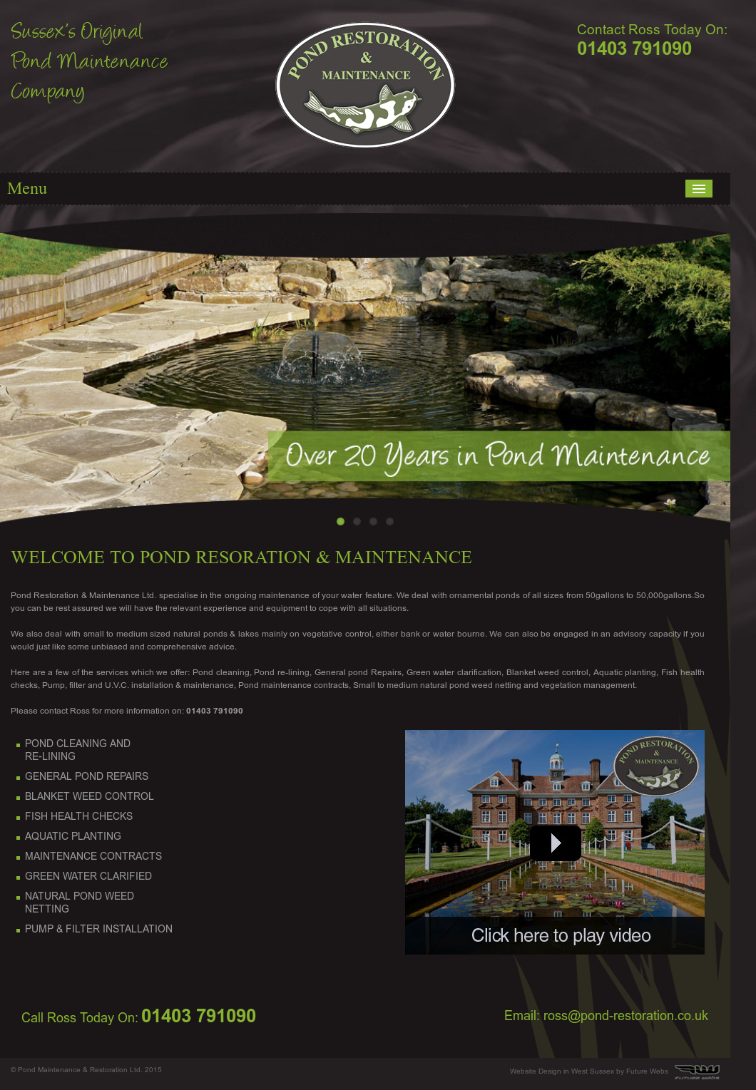 Pond maintenance restoration competitors revenue and for Pond maintenance companies