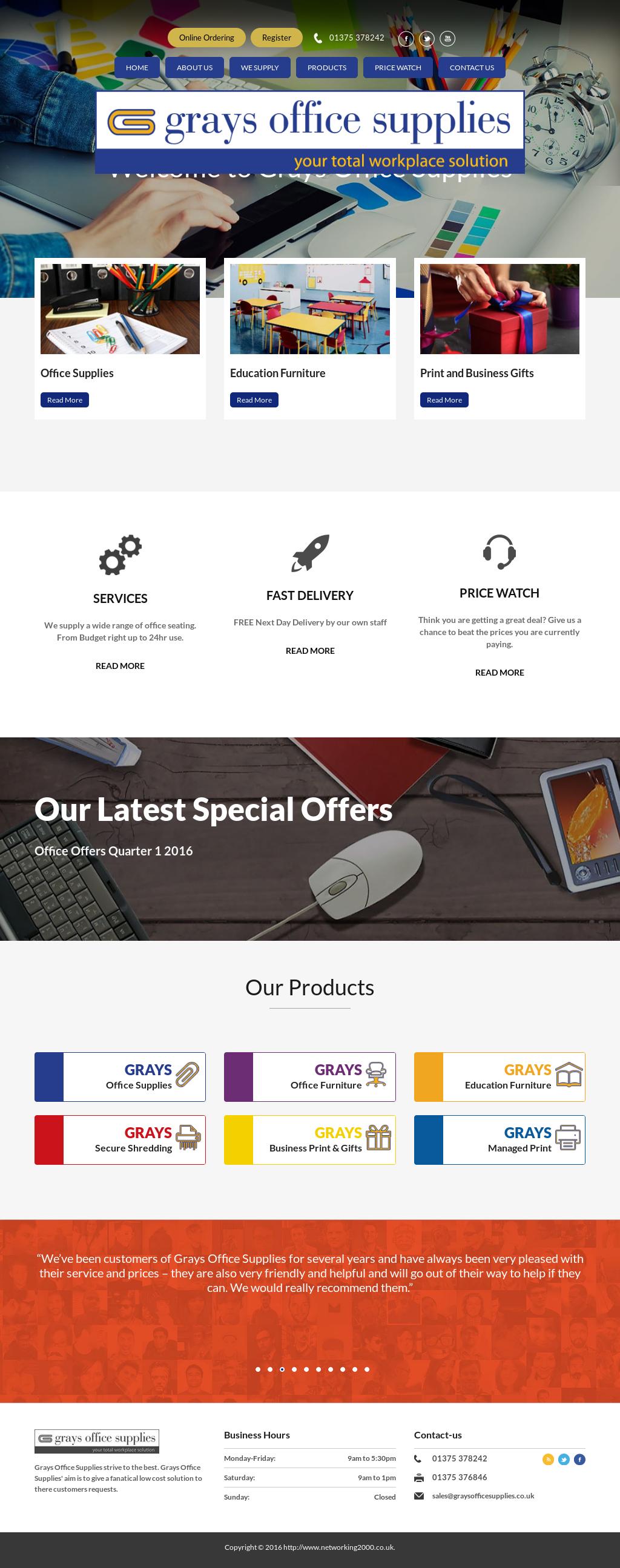 Grays Office Supplies Website History