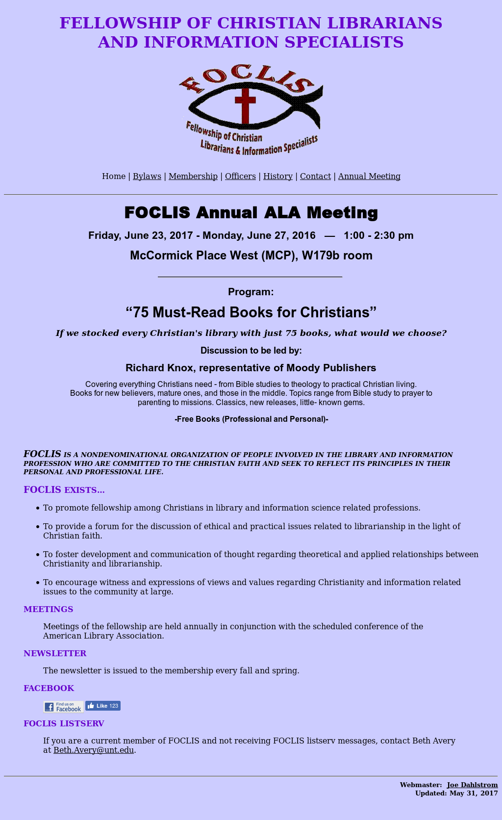 Fellowship Of Christian Librarians And Information Specialists