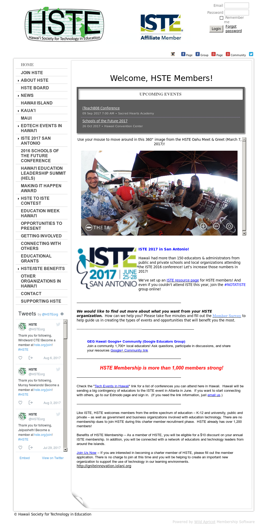 Hste Hawaii Society For Technology In Education website history
