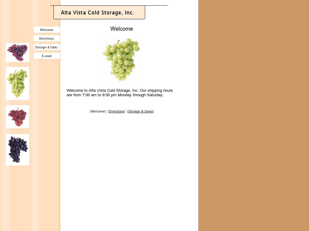 Alta Vista Cold Storage Website History