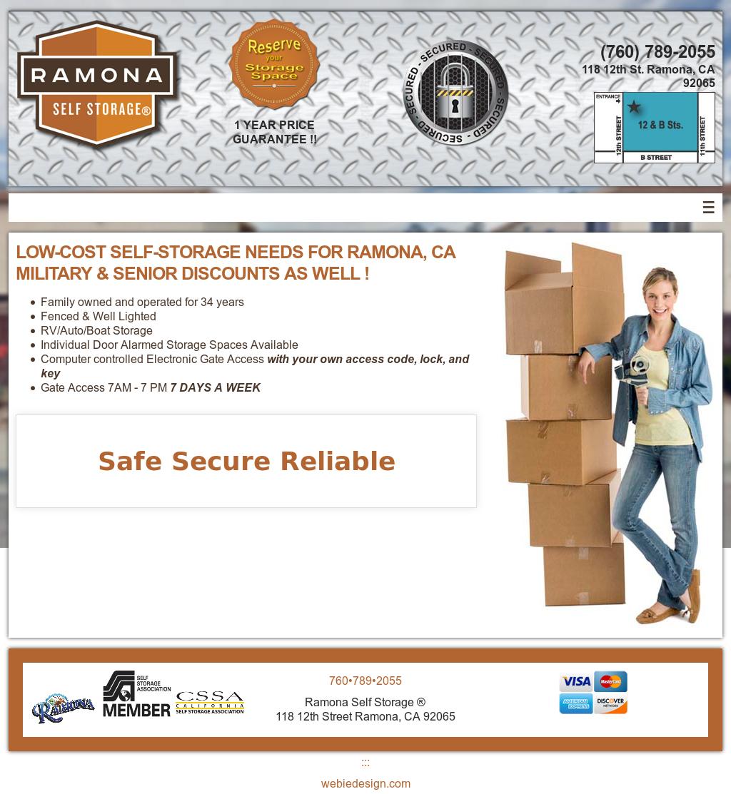 Ramona Self Storage Website History