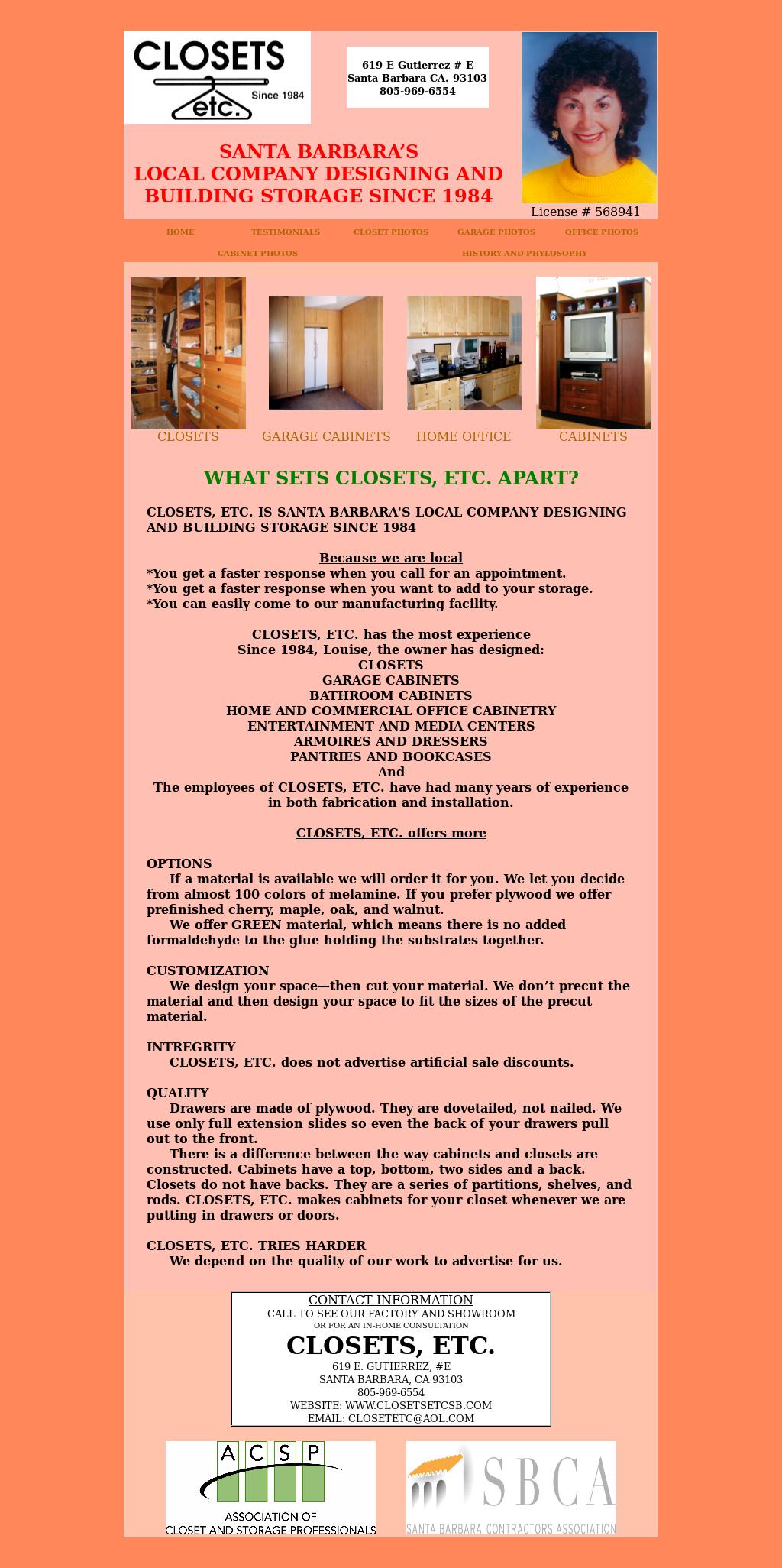 CLOSETS ETC Website History