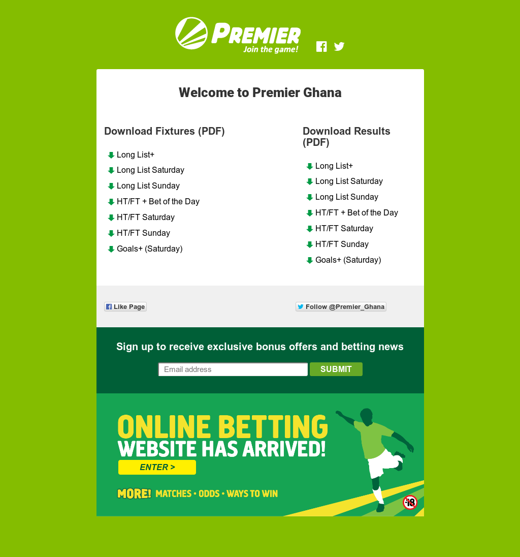 Premier betting ghana odds investing in crypto currency converter