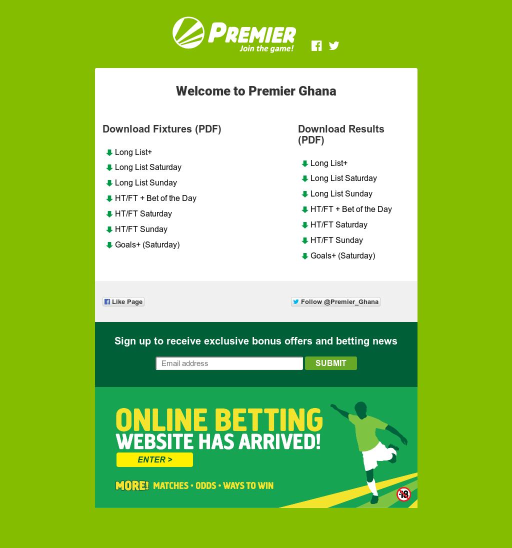 Premier betting ghana odds premier sports betting