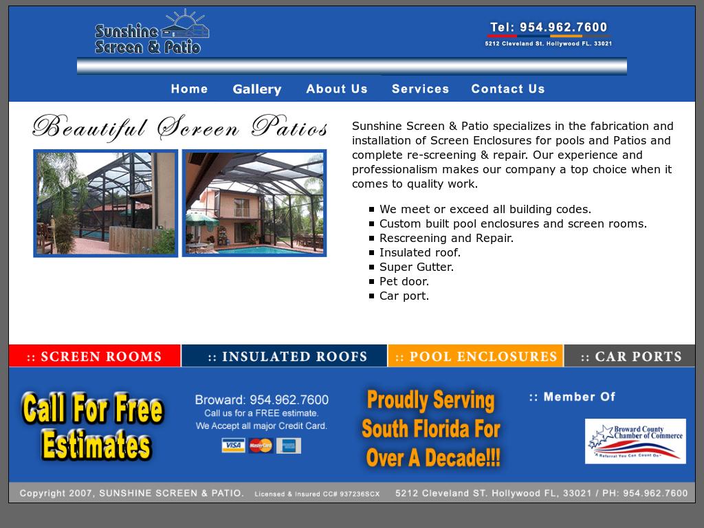 Superbe Sunshine Screen And Patio Website History