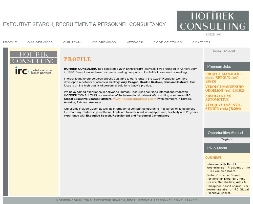 Miroslav Hofirek - Consulting Competitors, Revenue and