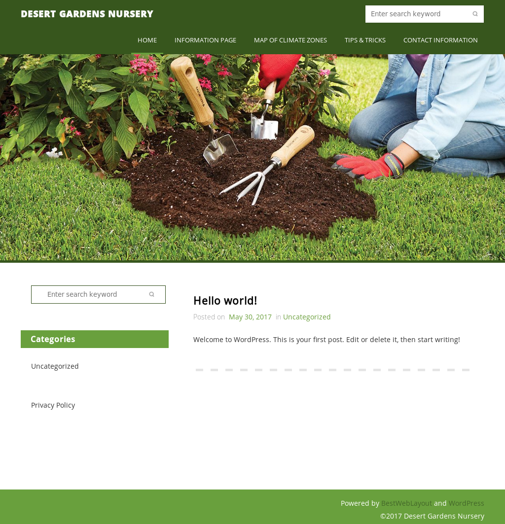 Desert Gardens Nursery Website History