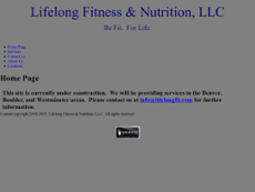 Lifelong Fitness & Nutrition website history