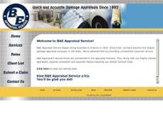B and E Appraisal Service website history