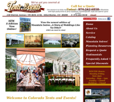 Tents and Events website history
