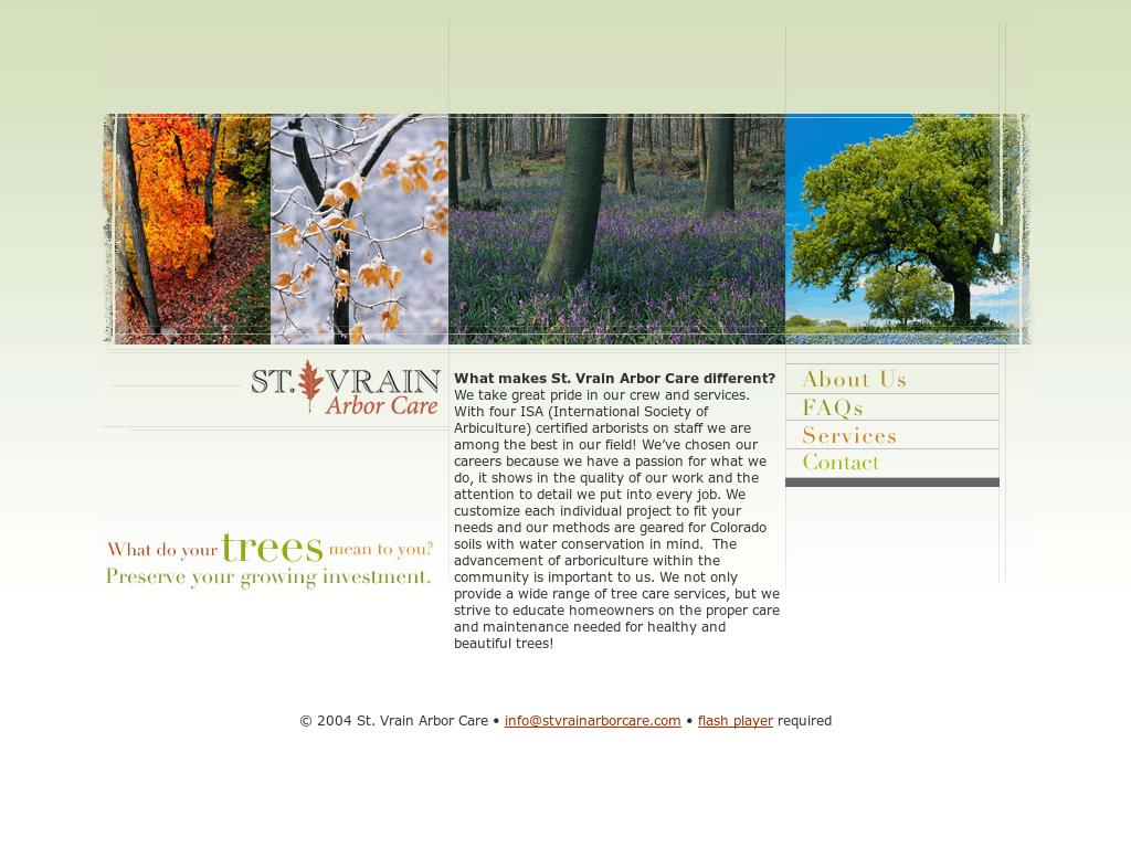 St Vrain Arbor Care Website History