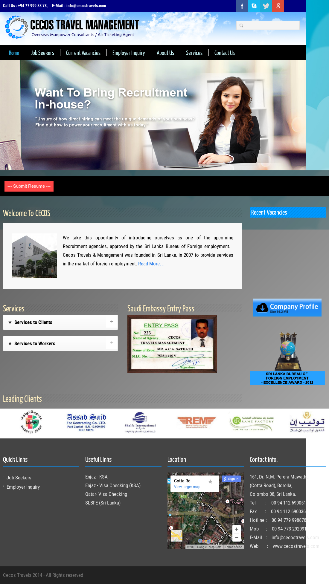 Cecos Travels Management website history Cecos Travels