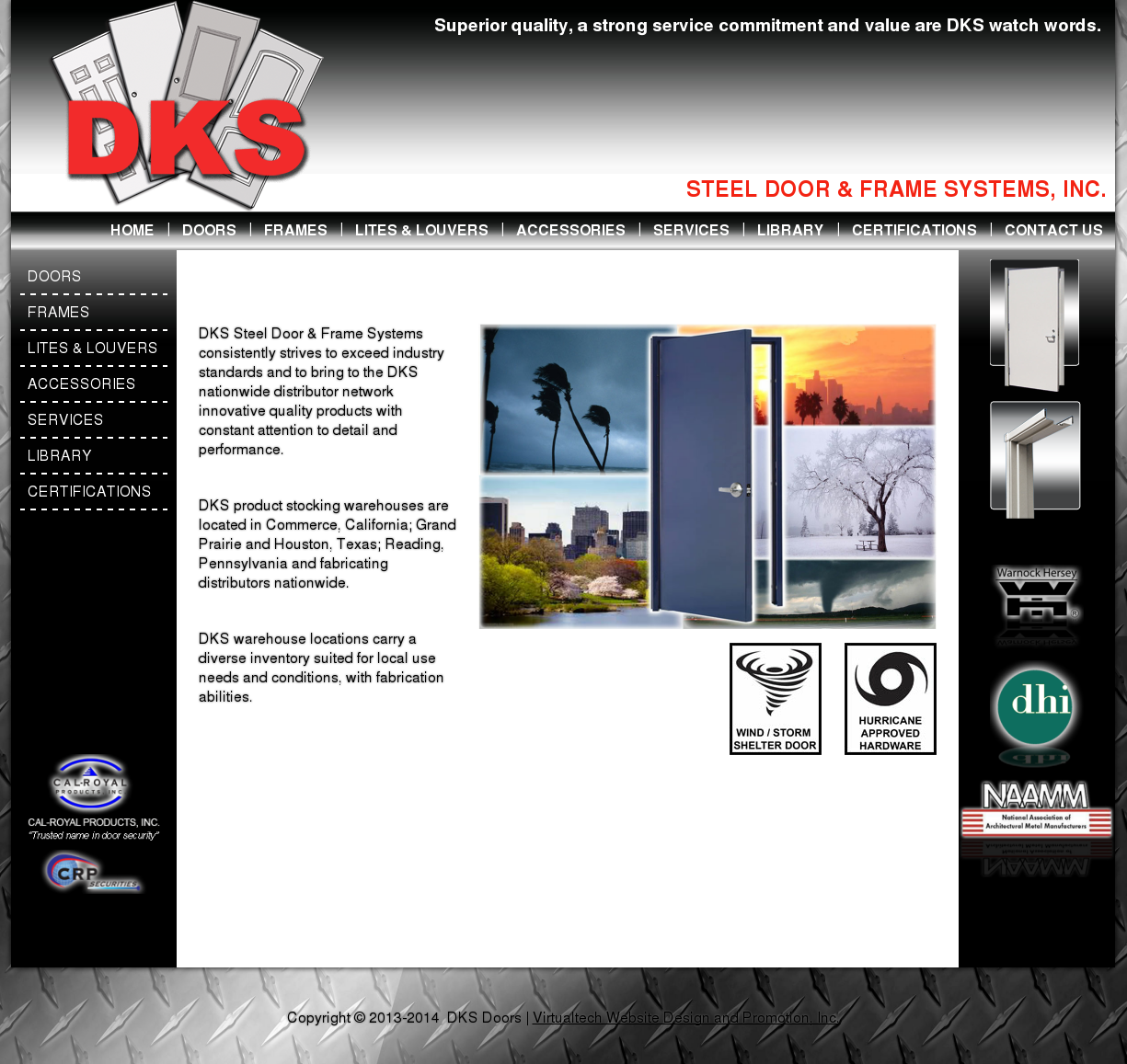 DKS Steel Door U0026 Frame Systems Website History