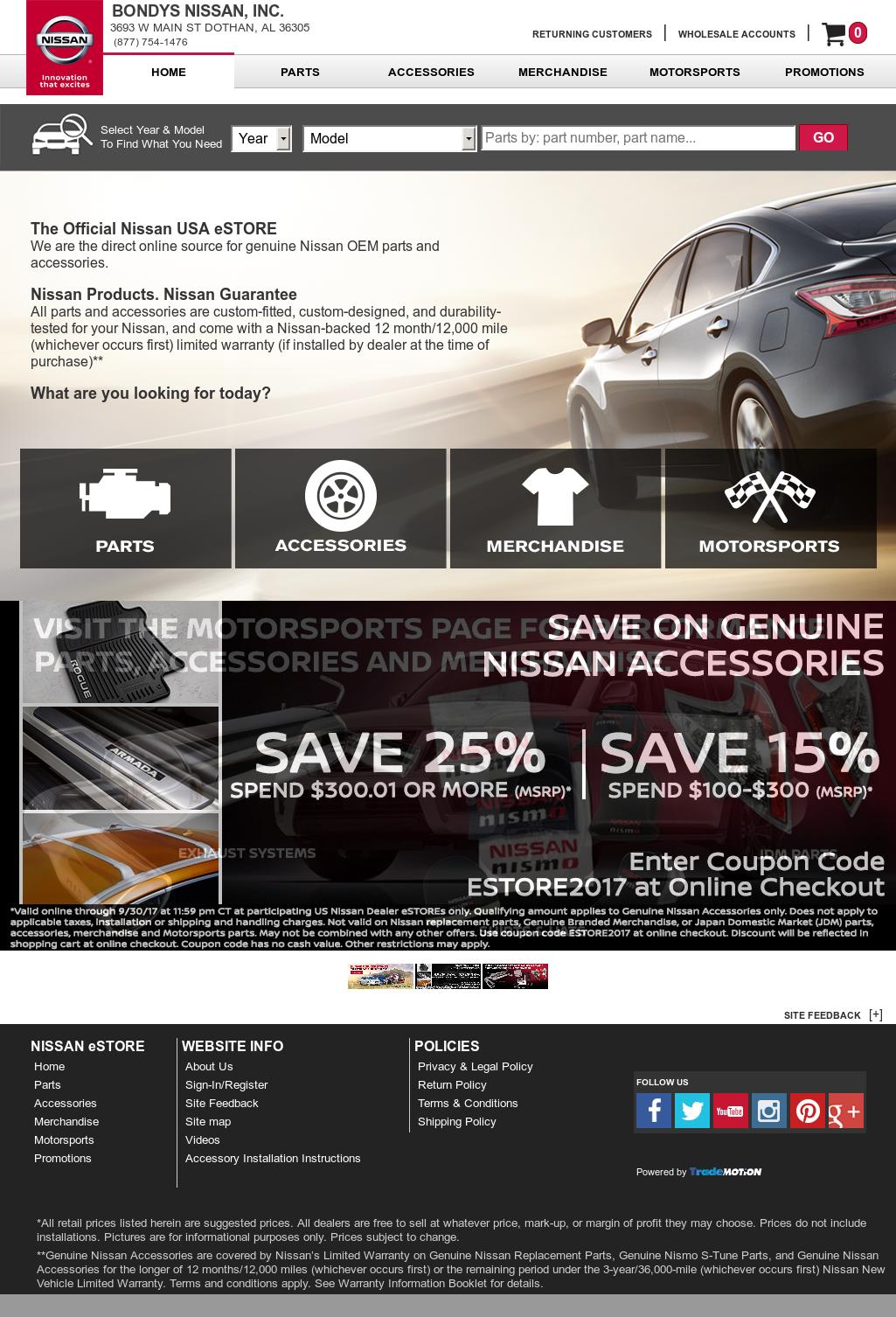 Bondys Nissan Website History