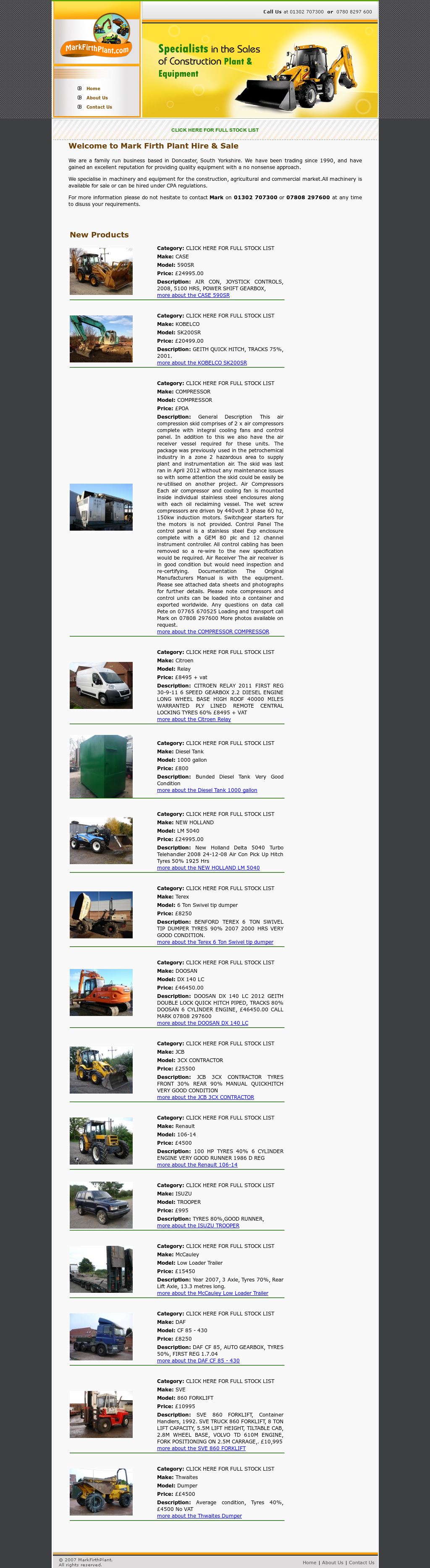 Mark Firth Plant Hire And Sales Competitors, Revenue and