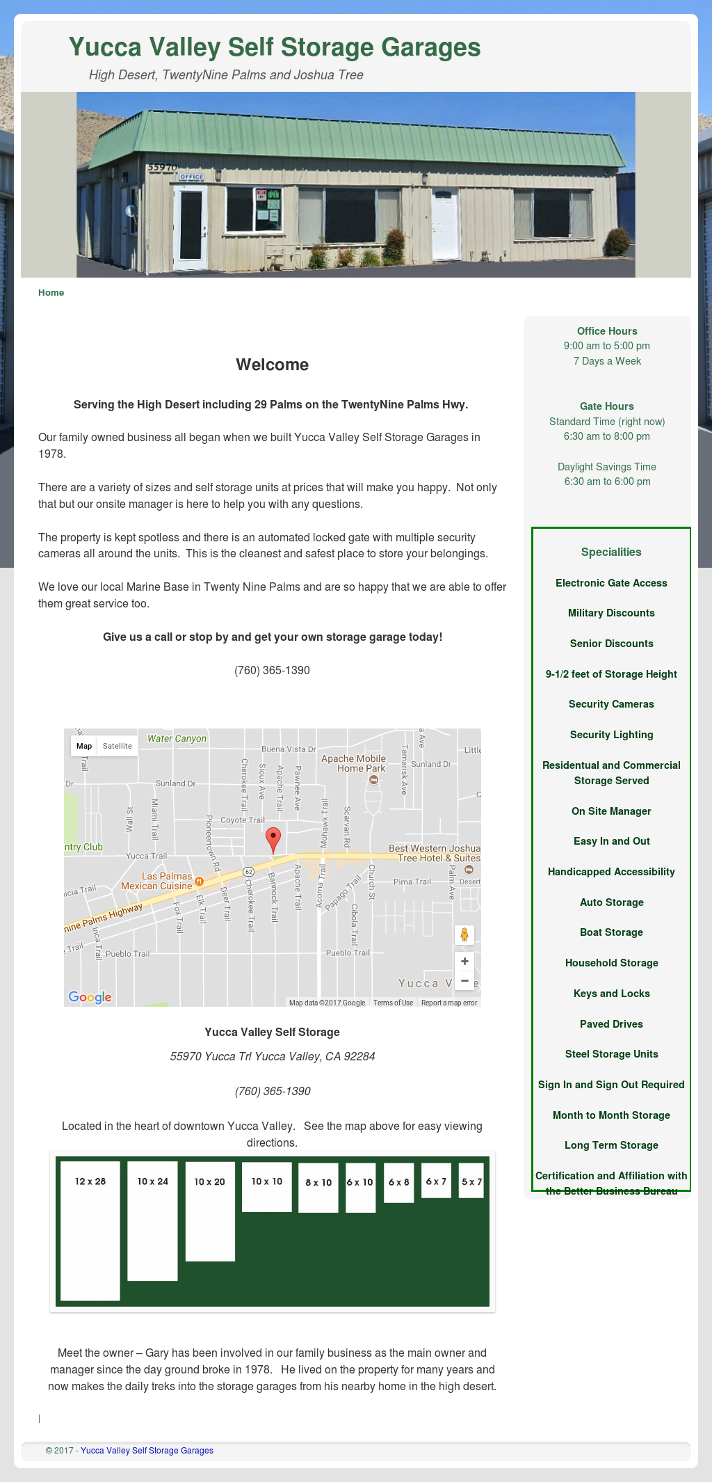 Yucca Valley Self Storage Website History