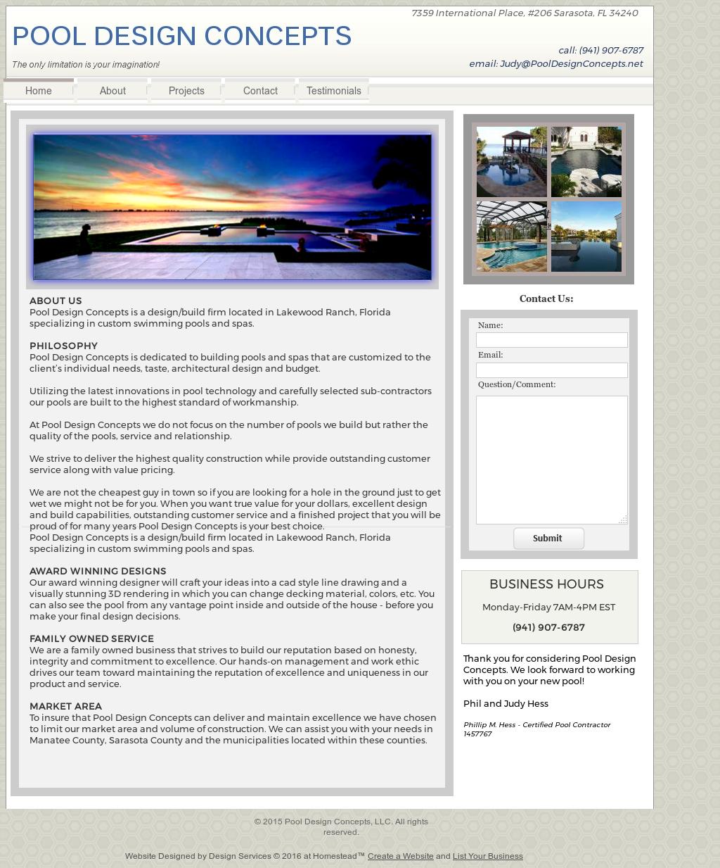 Pool Design Concepts Website History