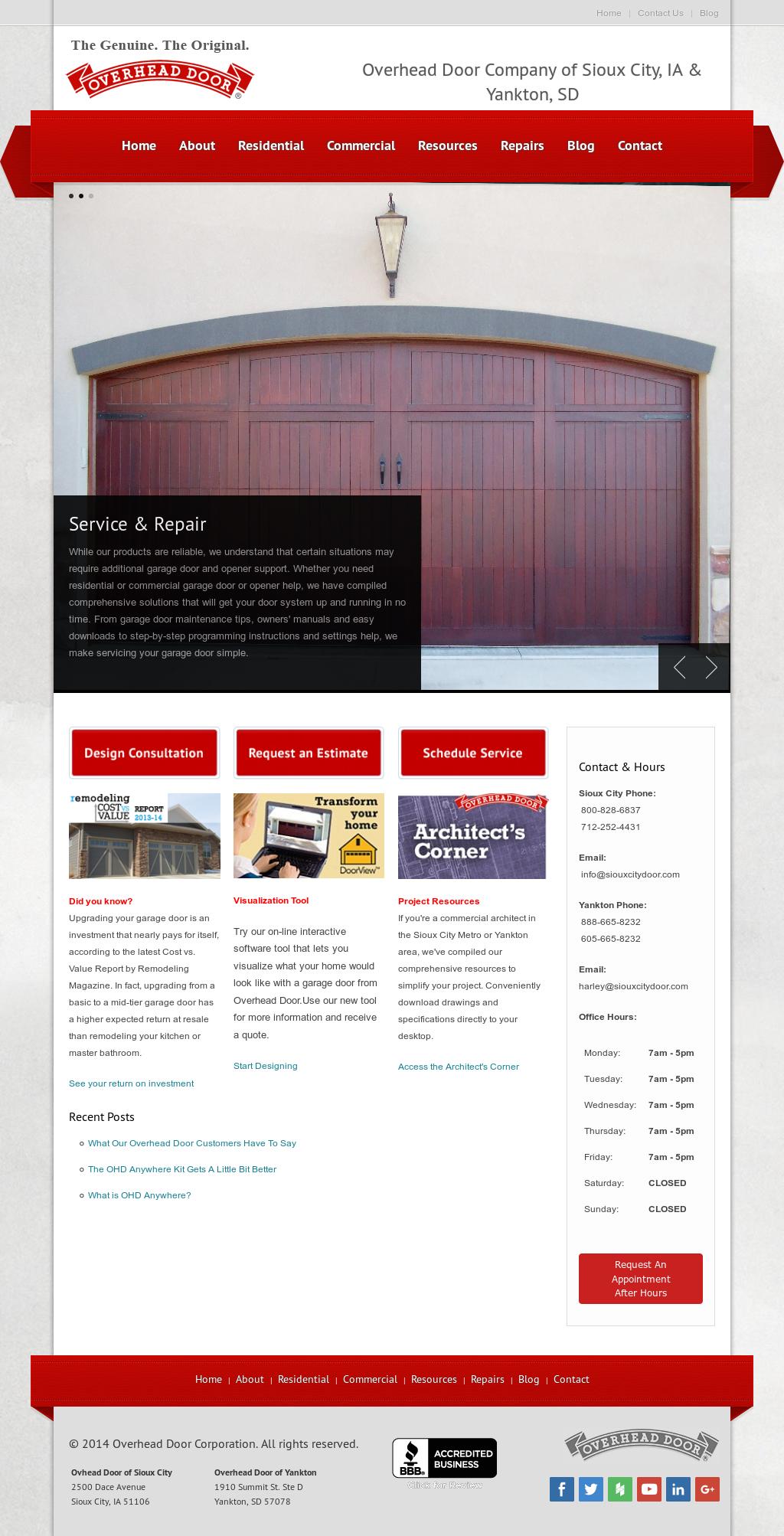 Sioux City Overhead Door Website History