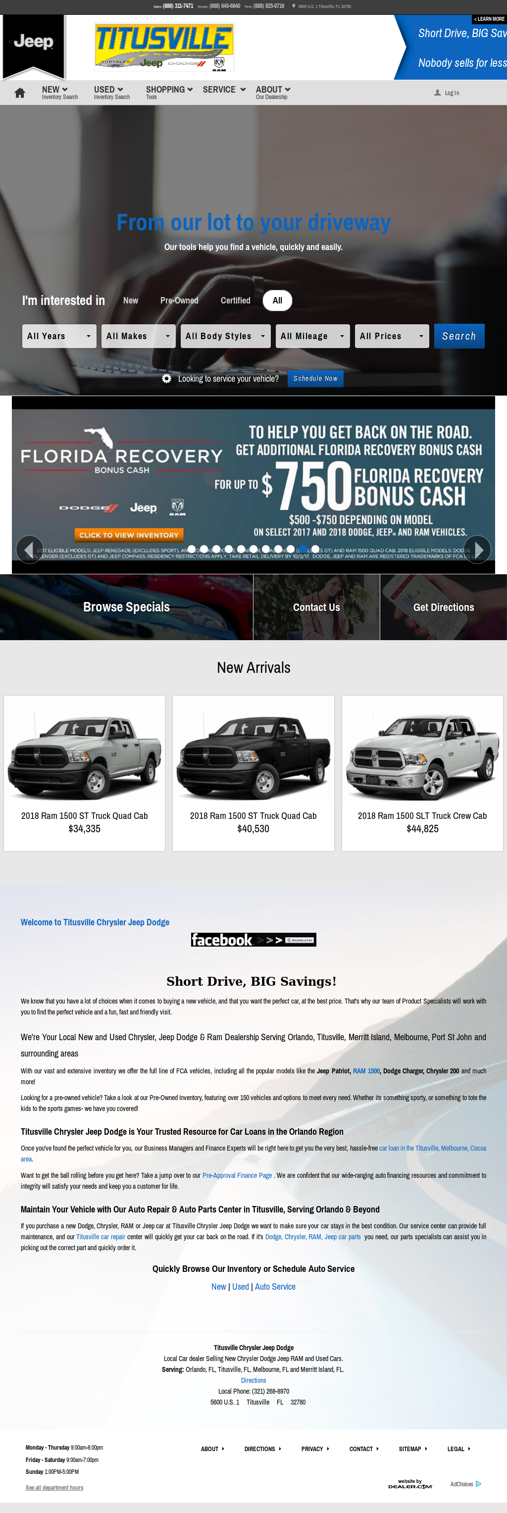 Titusville Chrysler Jeep Dodge Website History