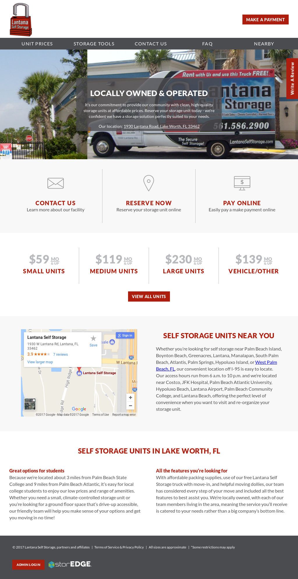 Lantana Self Storage Website History