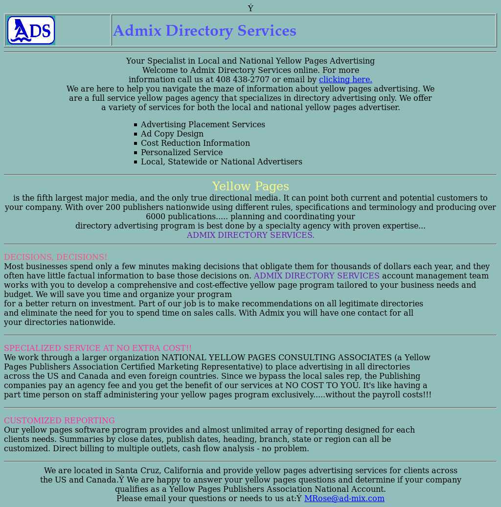 Admix Directory Service Competitors, Revenue and Employees
