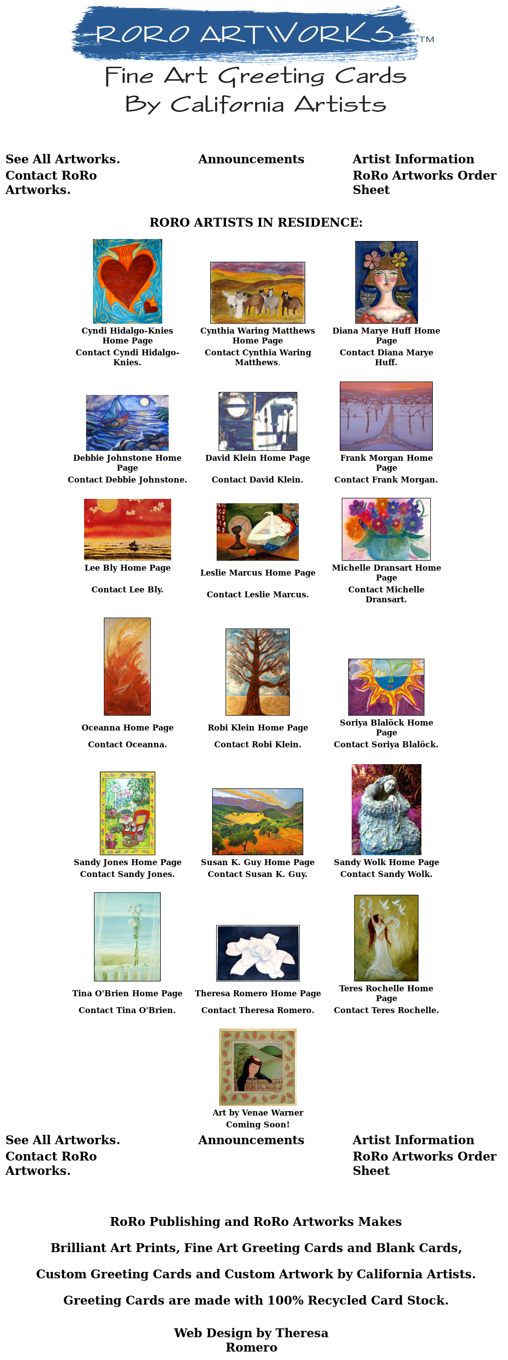 Roro Artworks Fine Art Greeting Cards By California Artists