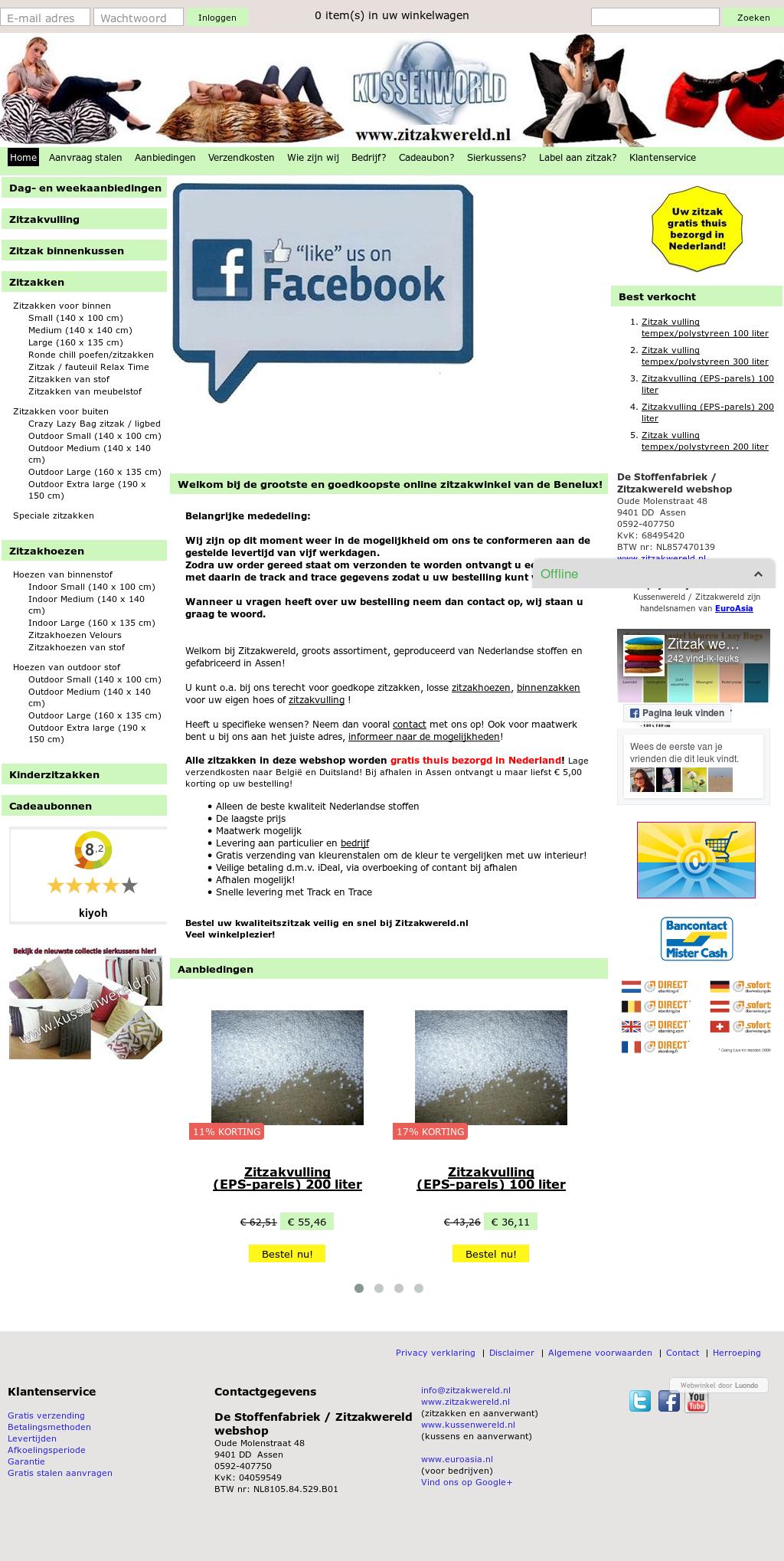 Zitzak Vulling Liter.Zitzak Webshop Kussenwereld Assen Competitors Revenue And