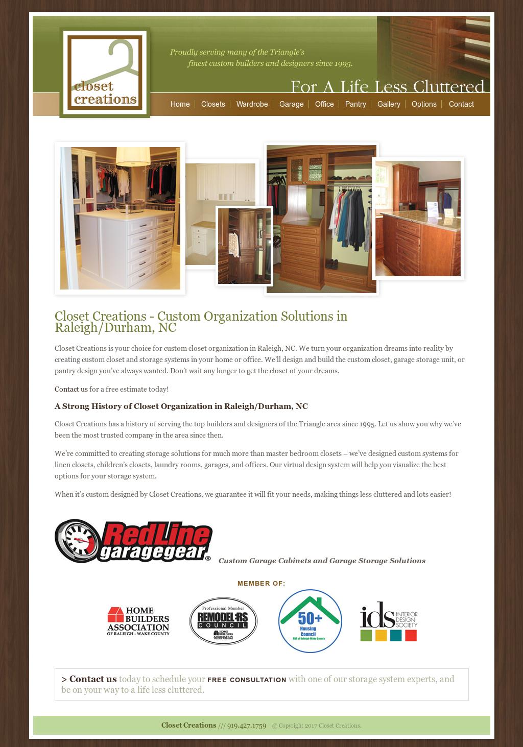 Closet Creations Website History