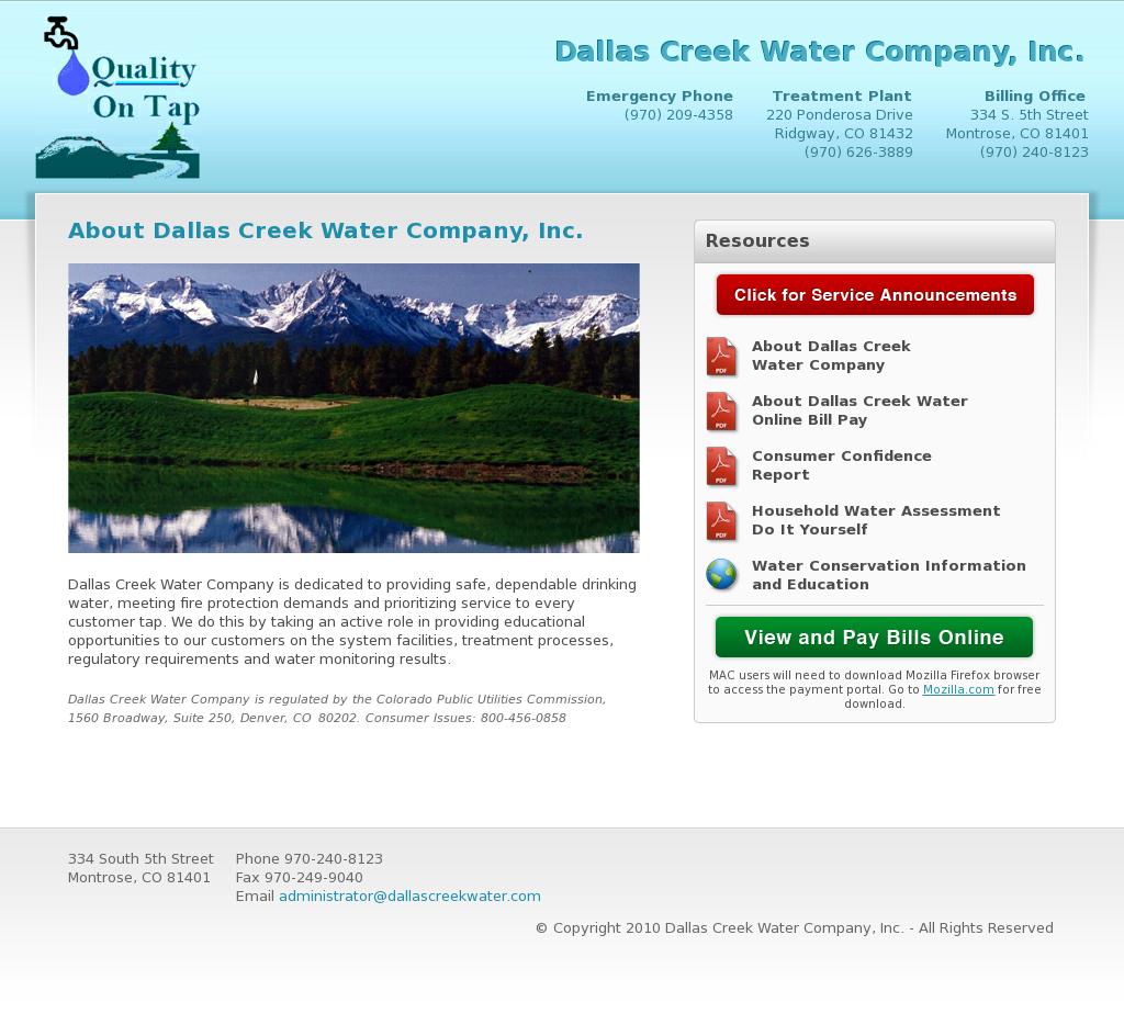 Dallas Water Company >> Dallas Creek Water Company Competitors Revenue And